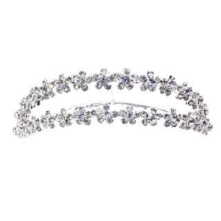 Kate Marie CWN-DH3392 Silver Rhinestone Crown Tiara Comb