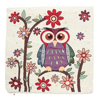 June Lily 18-inch Purple Owl Throw Pillow Cover