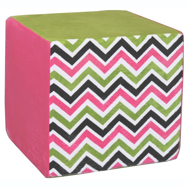 Koala Foam Pink/ Green Chevron 15-inch Cube