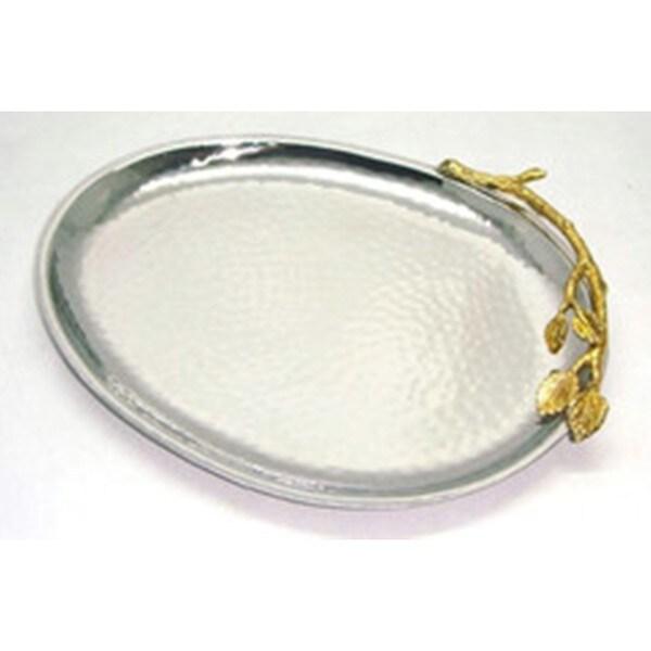 Elegance 10-inch Gilt Leaf Oval Platter