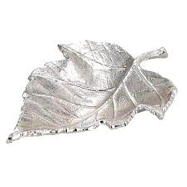 Elegance Nickel Plated Maple Leaf Dish - 13.5-inch x 10.5