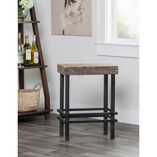 Kosas Home Rover Reclaimed Pine and Iron Counter Stool Mocha