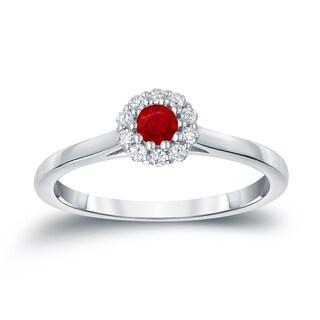 Auriya 14k Gold 1/6ct Ruby and 1/6ct TDW Diamond Halo Engagement Ring (H-I, I1-I2)