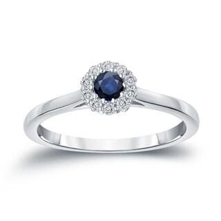 Auriya 14k Gold 1/6ct Blue Sapphire and 1/6ct TDW Diamond Halo Engagement Ring (H-I, I1-I2)