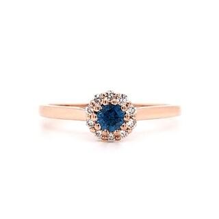 Auriya 14k Gold 1/4ct TDW Round-cut Blue Diamond Halo Engagement Ring (Blue, I1-I2)