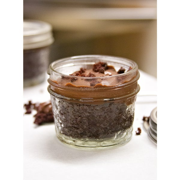 My Momma's Kitchen Dark Chocolate Pudding Cake in a Jar with Dark Chocolate Ganoche (Set of 4)