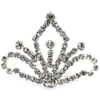 Kate Marie CWN-C3439 Silver Rhinestone Crown Tiara Comb