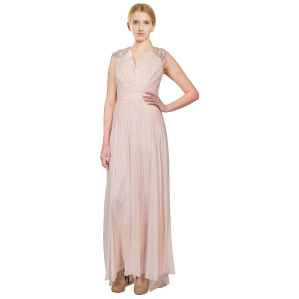 Badgley Mischka Embellished Shirred Silk Chiffon Evening Gown (Size 12)
