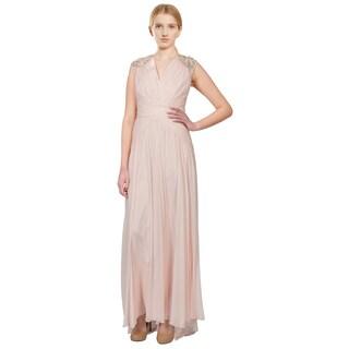 Badgley Mischka Embellished Shirred Silk Chiffon Evening Gown (Size 12)