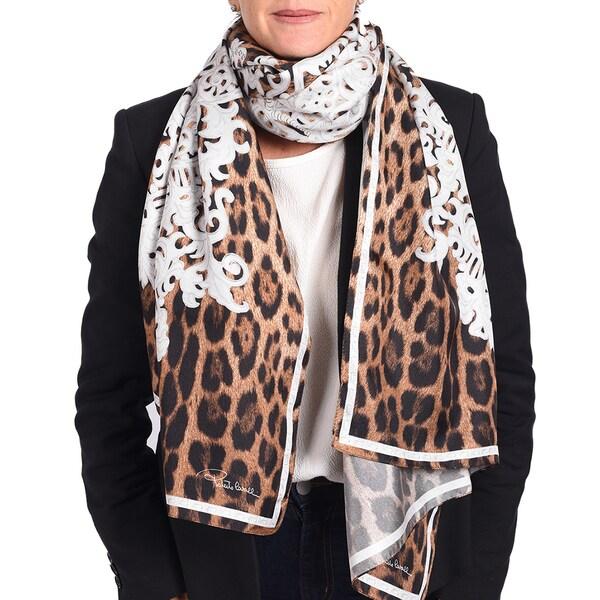 Roberto Cavalli Silk Leopard Baroque Print Scarf