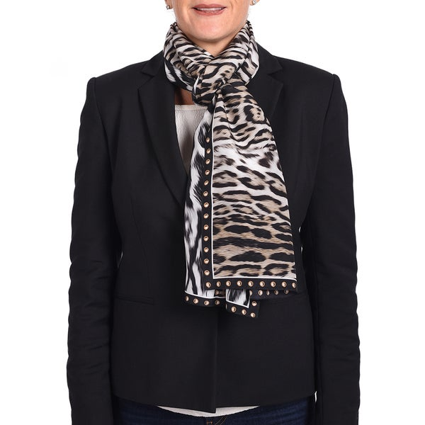 Roberto Cavalli Silk Black Animal Print Scarf