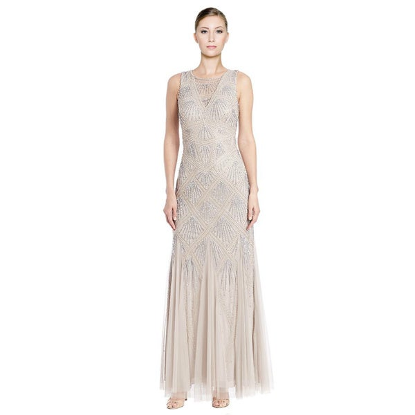 Aidan Mattox Beaded Godet Evening Gown (Size 8)