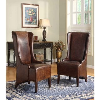 Lazzaro Leather King High Back Vintage Chestnut Dining Chair