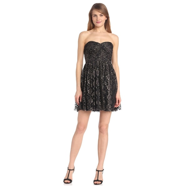 Jill Stuart Metallic Lace Sweetheart Neckline Strapless Dress