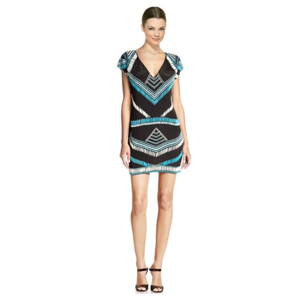 Karina Grimaldi Blake Bold Geometric Beaded Bohemian Silk Dress