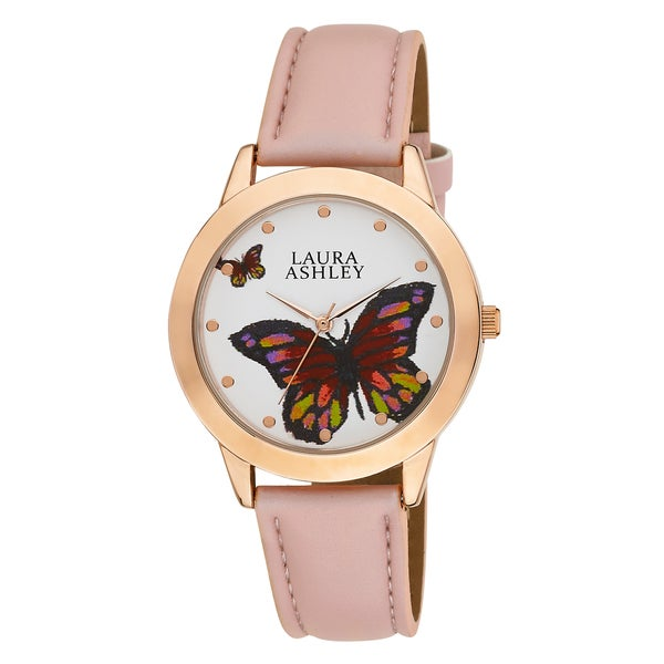 Laura Ashley Ladies Rose Gold Butterfly Dial Watch
