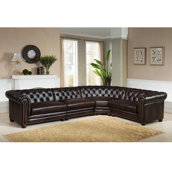 Sectional Sofa Sale Montreal: Bowie Premium Top Grain Brown Tufted Leather Sectional