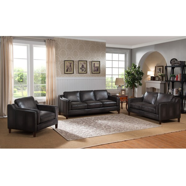 Ames Hand Rubbed Grey Top Grain Leather Sofa, Loveseat and Chair