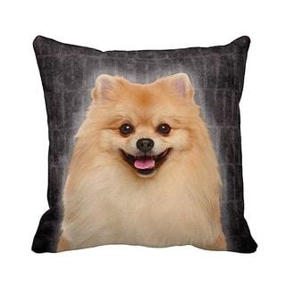 Pomeranian Grunge 16-inch Black Throw Pillow