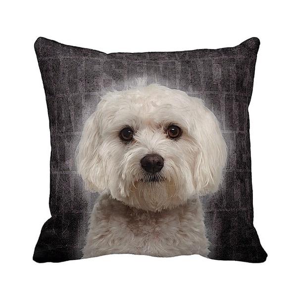 Maltese Grunge 16-inch Black Throw Pillow