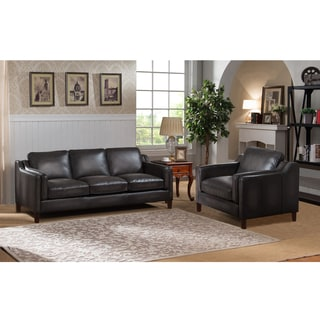 Ames Premium Hand Rubbed Grey Top Grain Leather Sofa and Chair