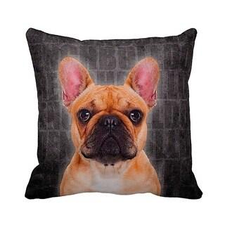 French Bulldog Grunge 16-inch Black Throw Pillow