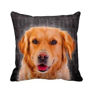 Golden Retriever Grunge 16-inch Black Throw Pillow
