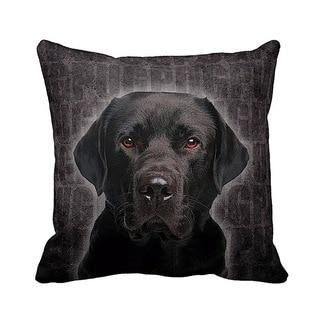 Labrador Black Grunge 16-inch Black Throw Pillow