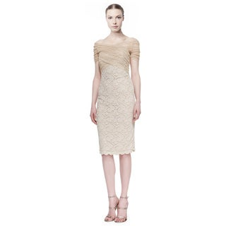 Badgley Mischka Metallic Lace Stretch Tulle Cocktail Evening Dress