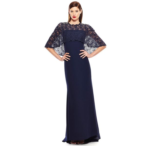 Badgley Mischka Pebble Lace Cape Evening Gown