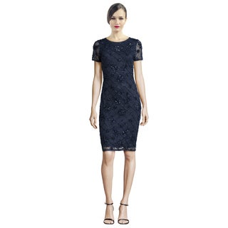 Badgley Mischka Short-Sleeve Sequined Windowpane Cocktail Dress