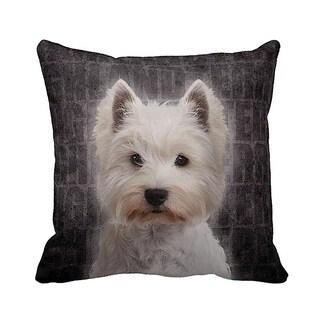 Highland Terrier Grunge 16-inch Black Throw Pillow