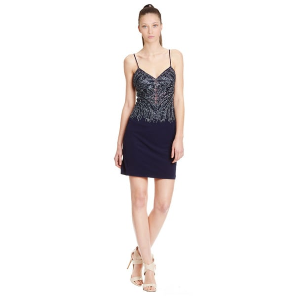Basix Spaghetti Strap Sequin Beaded Cocktail Dress