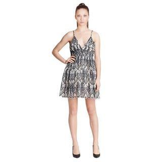 Alice and Olivia Cara Flared Lace Cocktail Dress