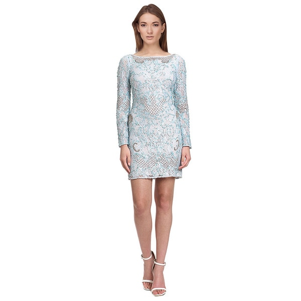 Aidan Mattox Long Sleeve Beaded Cocktail Dress