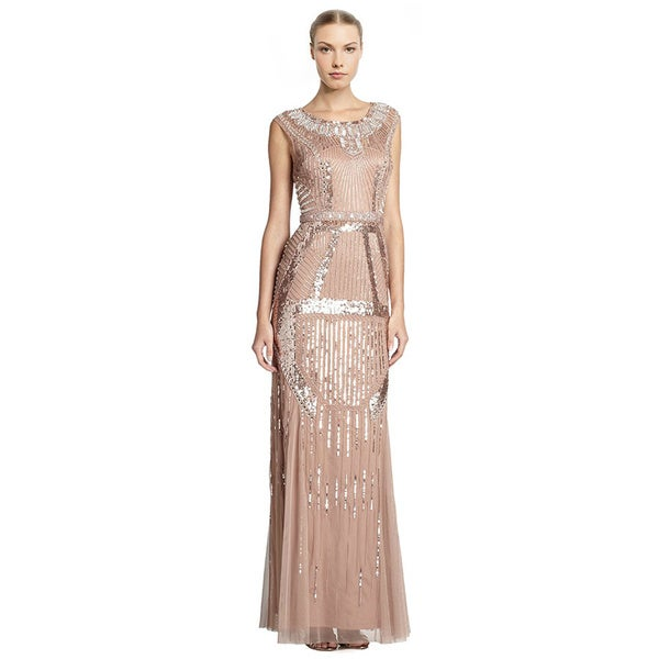 Aidan Mattox Deco-Print Beaded Evening Gown