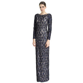 Aidan Mattox Beaded Lace Column Evening Gown