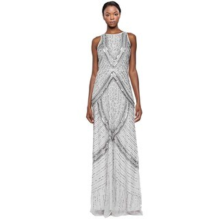 Aidan Mattox Sequined Beaded Halter Evening Long Dress