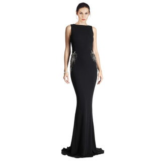 Badgley Mischka Glamorous Cowl-Back Embellished Long Dress