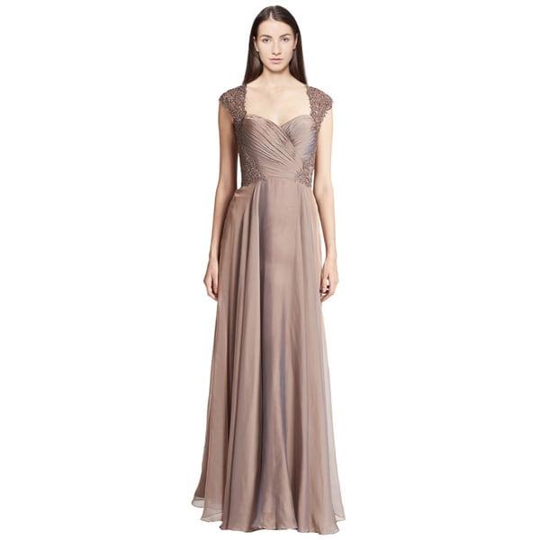La Femme Cap-Sleeve Lace Chiffon Gown