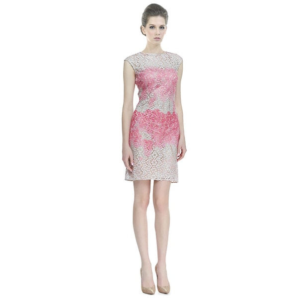 Kay Unger Cap Sleeve Ombre Floral Textured Sheath Party Dress
