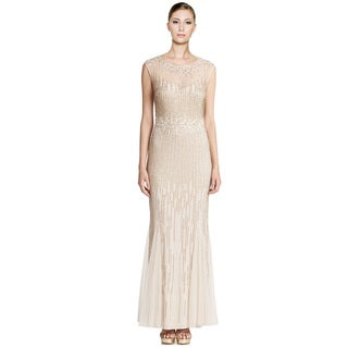 Aidan Mattox Ethereal Beaded Cap-Sleeve Illusion Gown