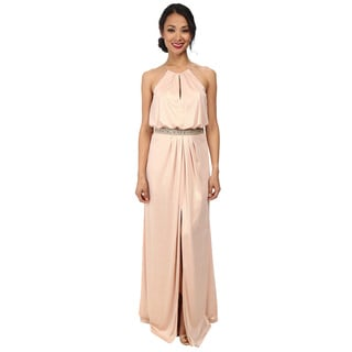 Aidan Mattox Long Jersey Halter Neck Beaded Waist Gown
