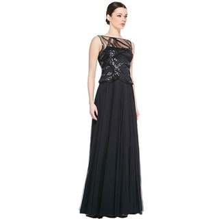 Kay Unger Sleeveless Sequined Bodice Evening Gown