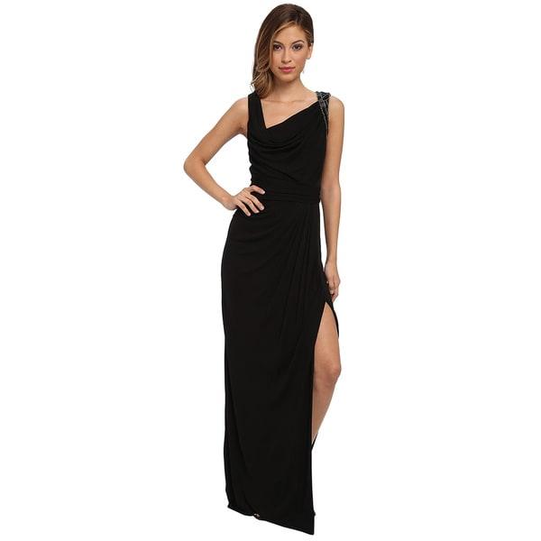 Badgley Mischka Beaded Shoulder Matte Jersey Evening Gown