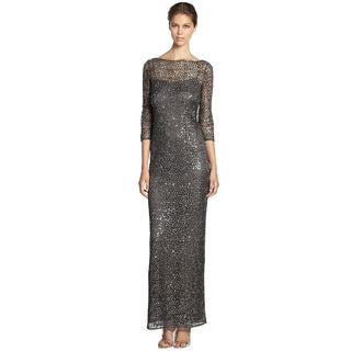 Kay Unger Dazzling Metallic Lace Sequin Evening Gown