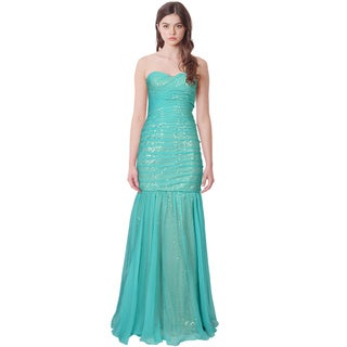 La Femme Pleated Strapless Sequin Chiffon Mermaid Gown