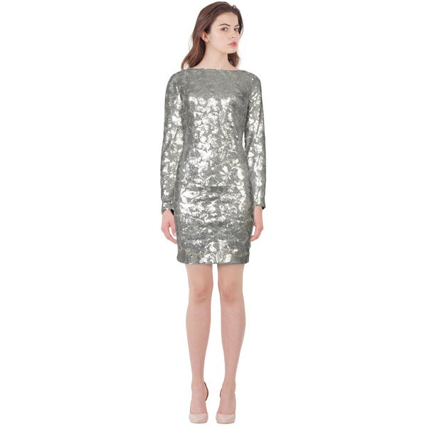 Aidan Mattox Shimmering Leaf Sequin Embellished Long Sleeve Dress