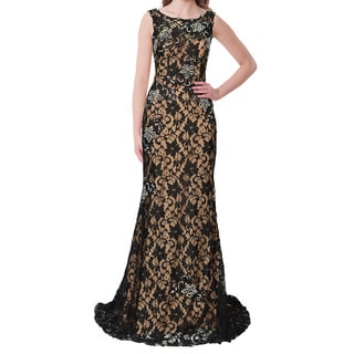 Jovani Floral Applique Embellished Evening Gown