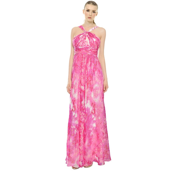 Aidan Mattox Tie Dye Metallic Pleated Chiffon Formal Gown